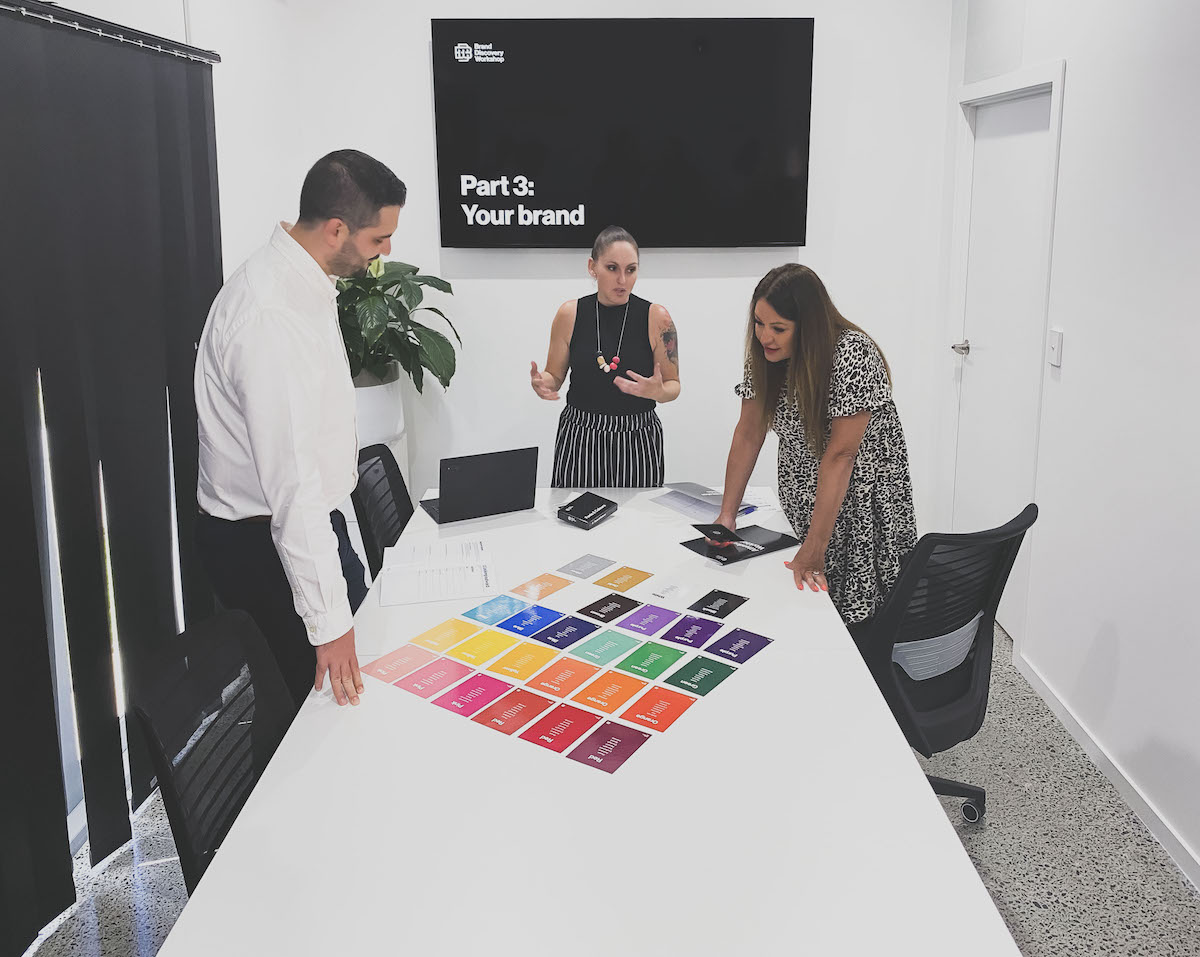 designer hosting a workshop with the Brand Discovery Kit